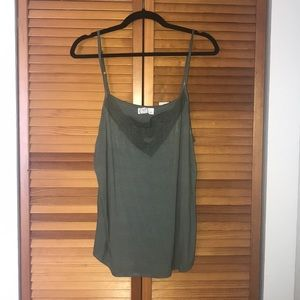 Green lace detail tank